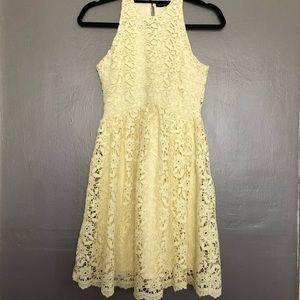 Zara lace flower halter mini dress